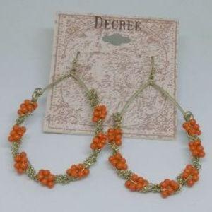 Orange Beaded Hoop Teardrop Dangle Earrings 1231